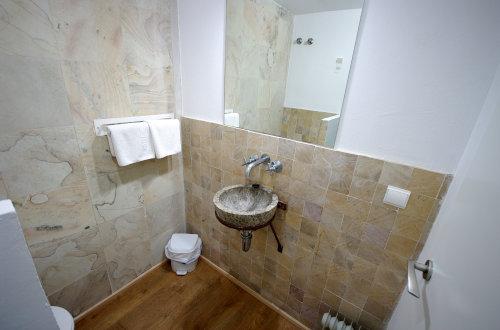 Baño con lavabo rústico
